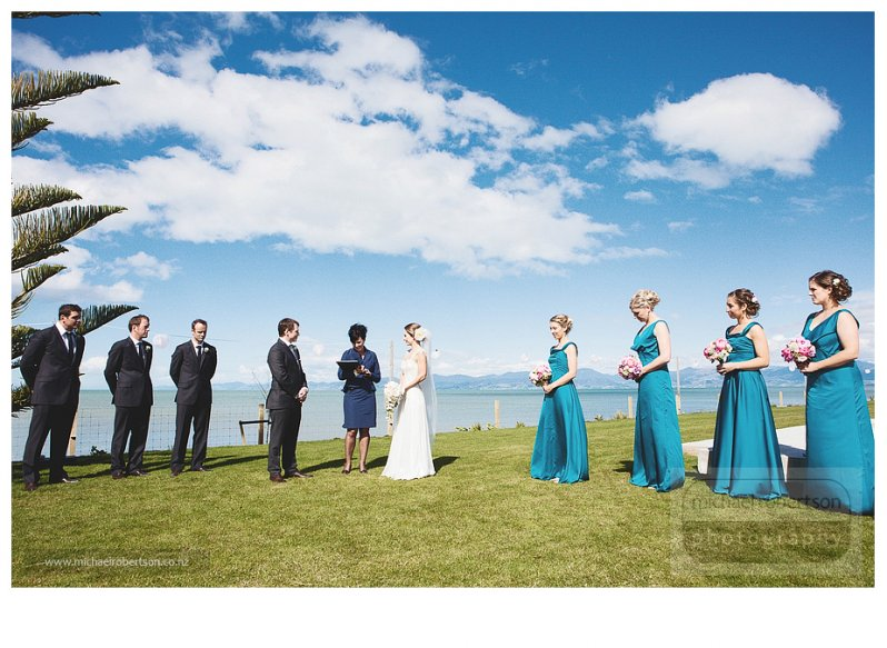 Milan and Felicity's wedding at Kina Cliffs, Nelson