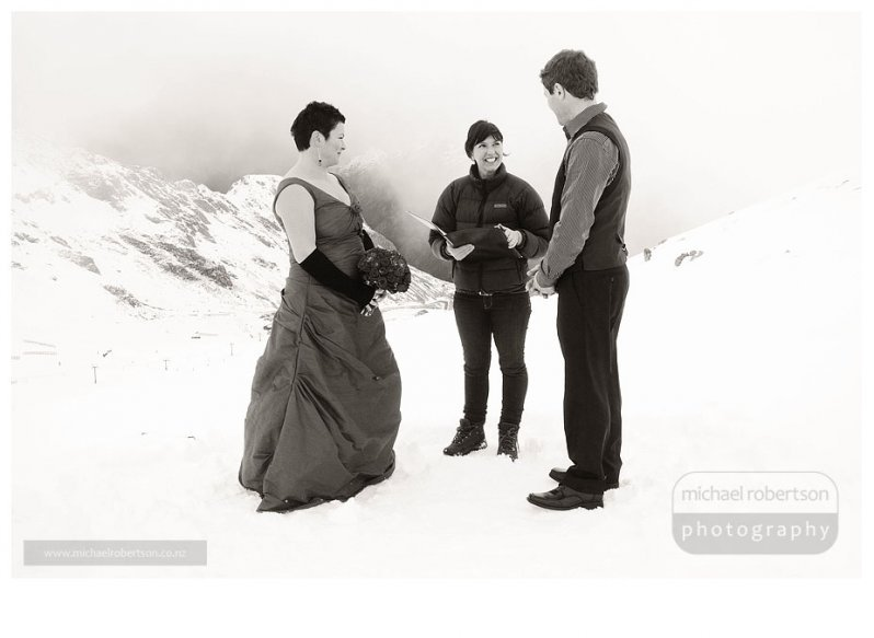 Brendon and Jacqui's winter wedding at Rainbow Skifield